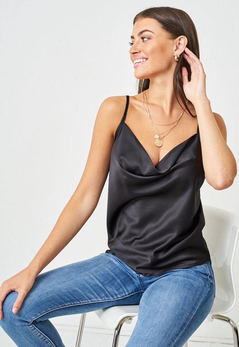 Satin Cowl Neck Cami Top in Black - love frontrow