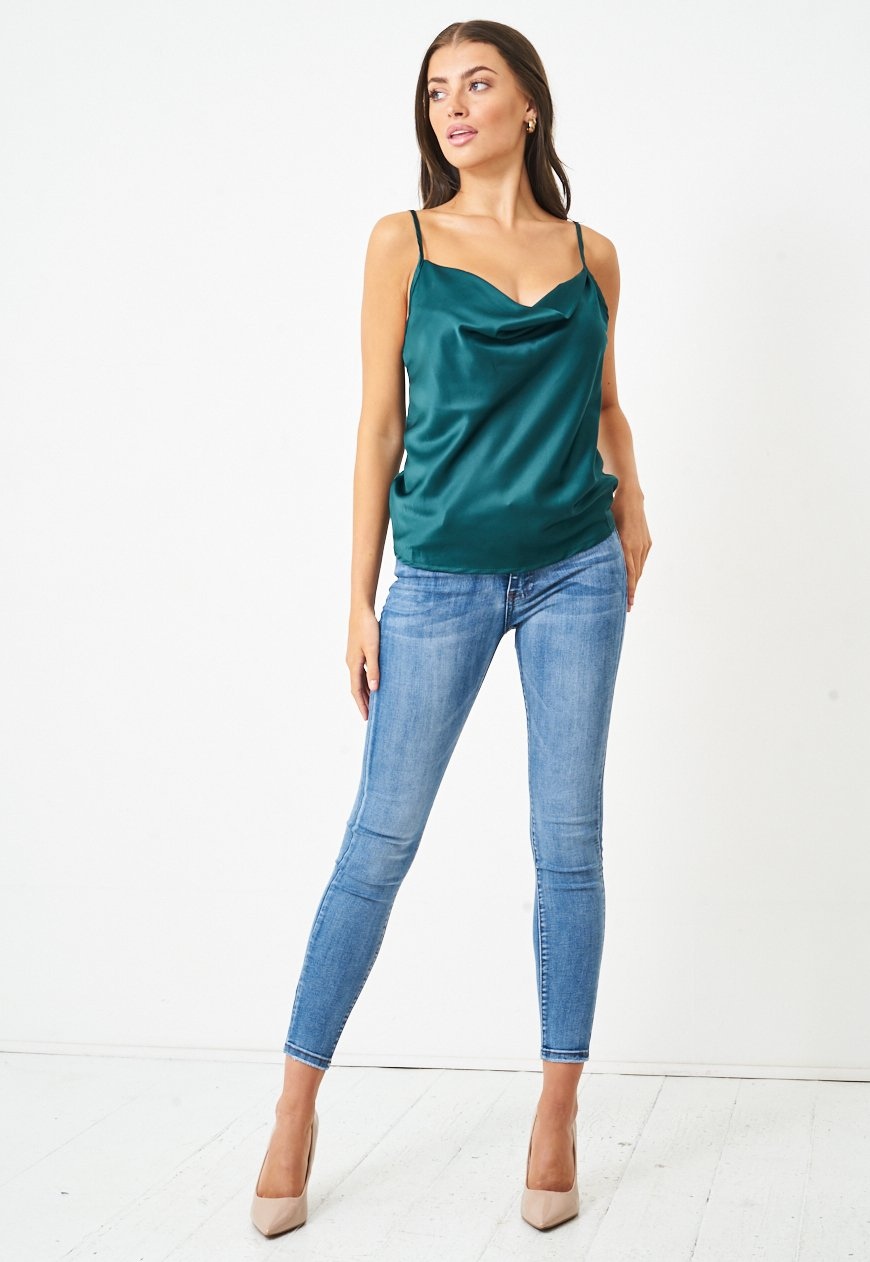 Satin Cowl Neck Cami Top in Emerald Green - love frontrow