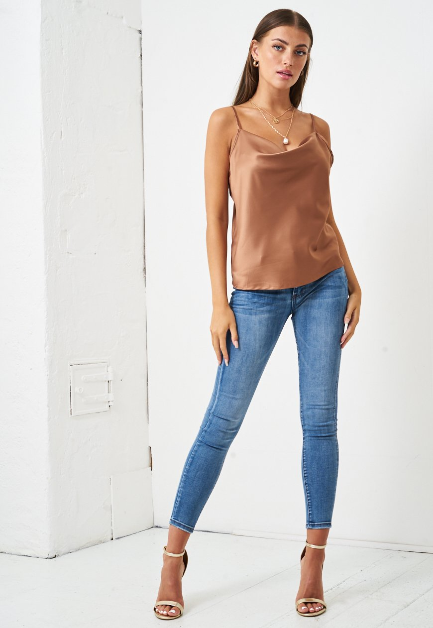 Satin Cowl Neck Cami Top in Gold - love frontrow