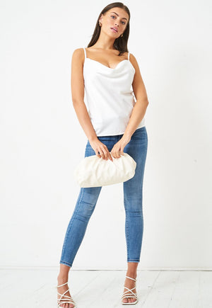 Satin Cowl Neck Cami Top in White - love frontrow