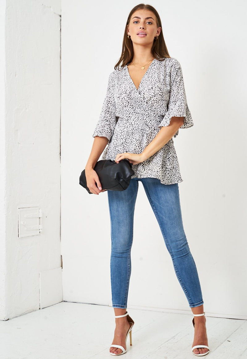 White Leopard Print Wrap Top - love frontrow
