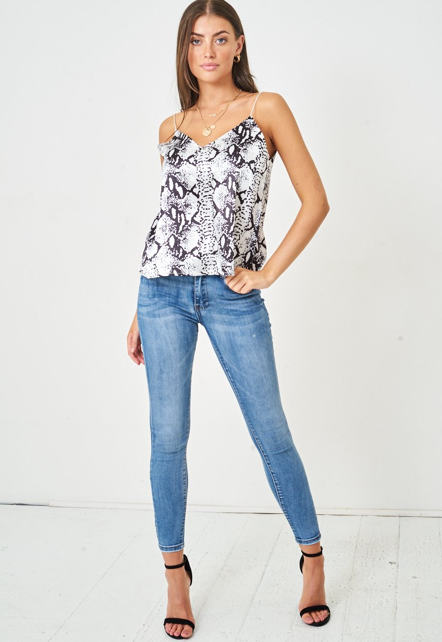 Snake Print Satin Cami Top | Monochrome - love frontrow