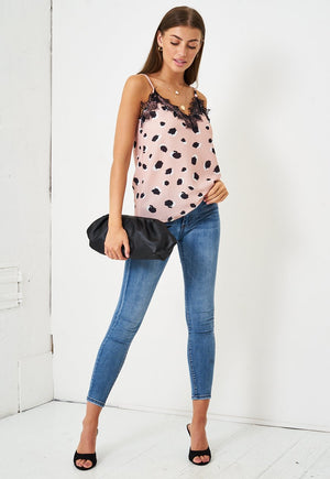Leopard Print Lace Trim Cami Top in Pink - love frontrow