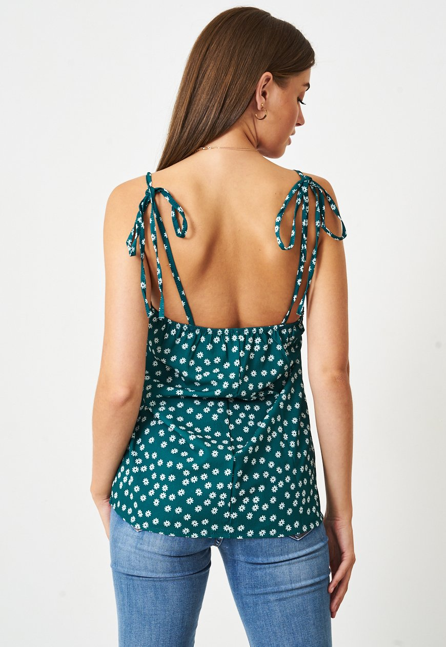 Tie Up Ditsy Floral Cami Top in Green - love frontrow