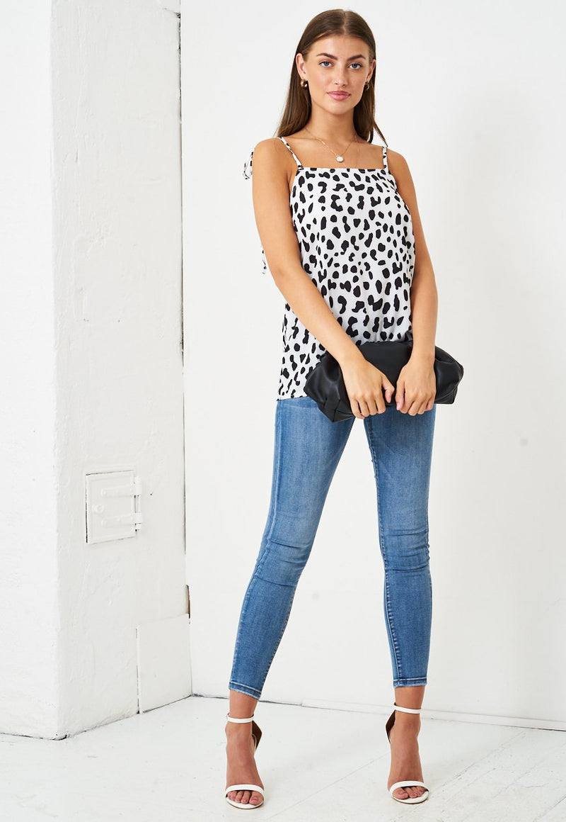 Tie Up Leopard Print Top in White - love frontrow