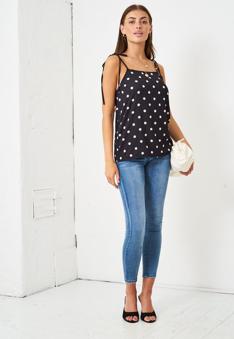 Tie Up Polka Dot Cami Top in Black - love frontrow