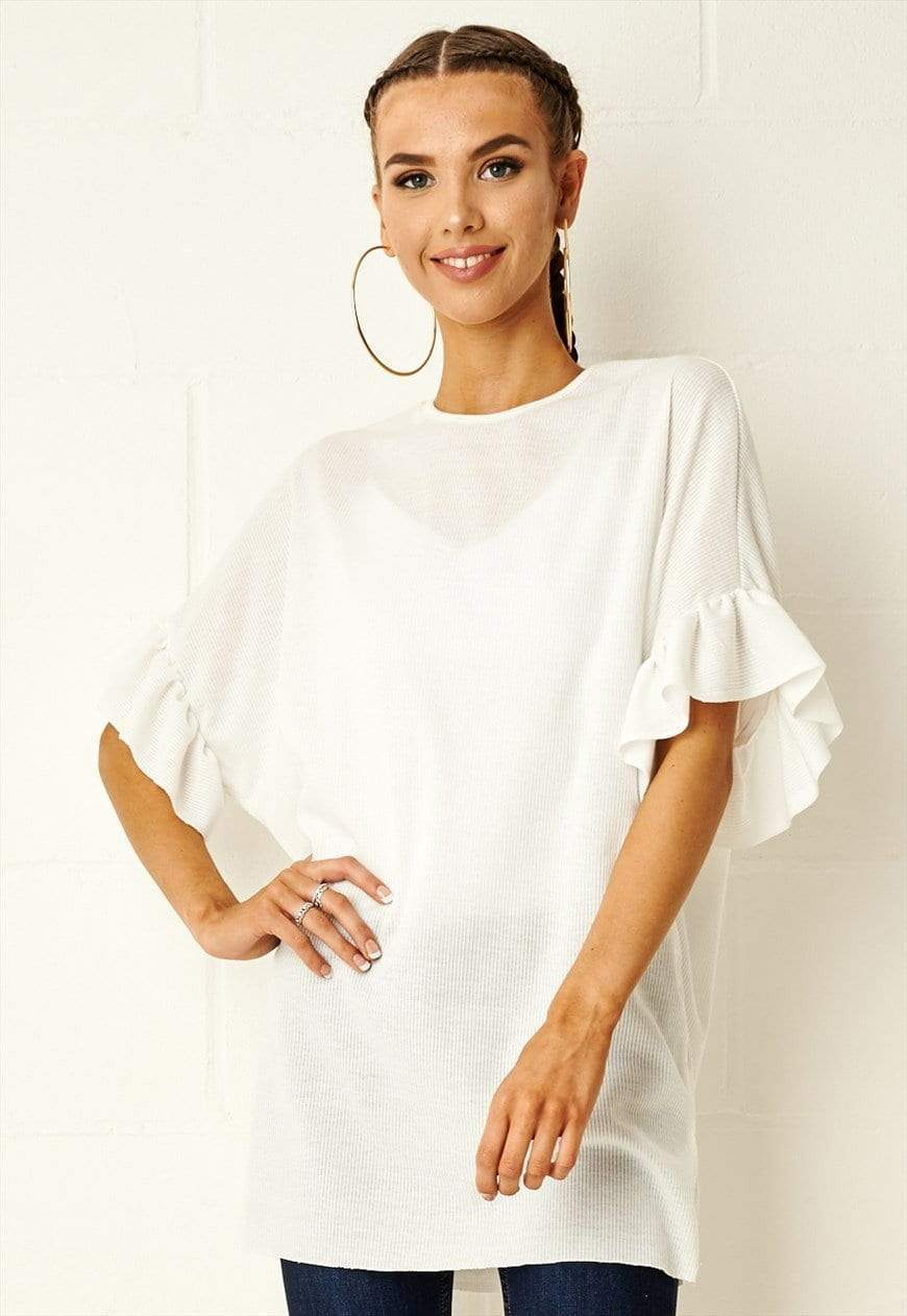 Viola Ruffle Sleeve Top In White - love frontrow