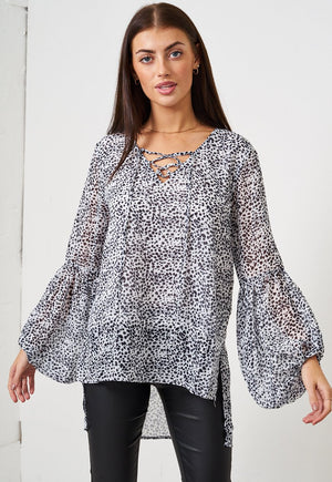 White Animal Print Blouse - love frontrow