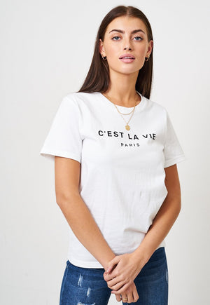 White 'C'EST LA VIE PARIS' Slogan T-Shirt - love frontrow