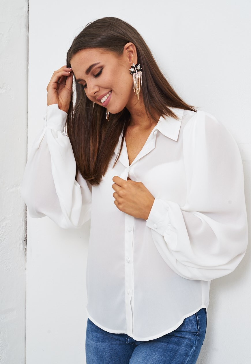 White Chiffon Blouson Sleeve Shirt - love frontrow