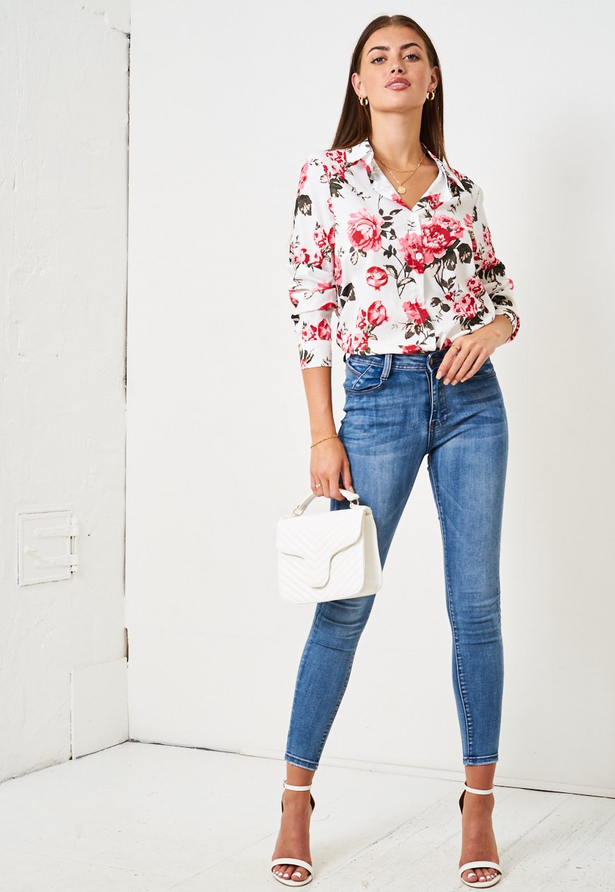 White Floral Rose Print Shirt - love frontrow