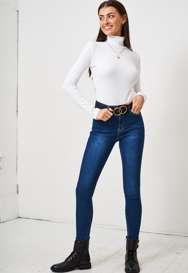 White High Neck Long Sleeve Bodysuit - love frontrow