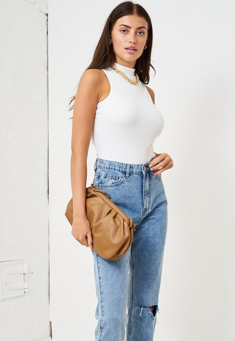 White High Neck Sleeveless Bodysuit - love frontrow