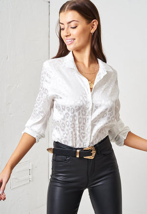 White Leopard Print Jacquard Satin Shirt - love frontrow