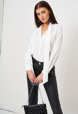 White Pussy Bow Satin Shirt - love frontrow
