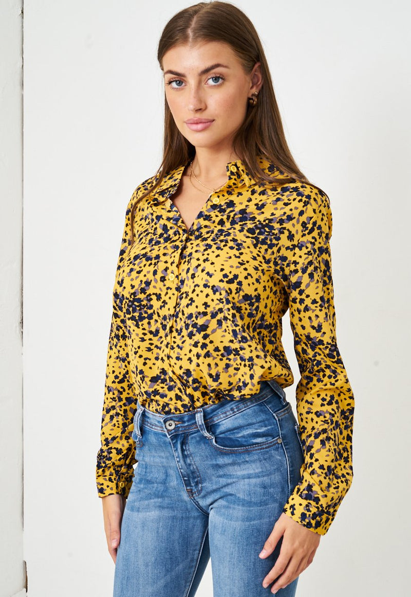 Yellow Leopard Print Shirt - love frontrow