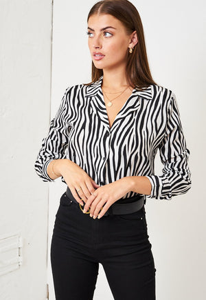 Zebra Print Shirt in White - love frontrow