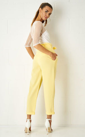 Abbiye High Waist Paperbag Tapered Trousers In Yellow - love frontrow