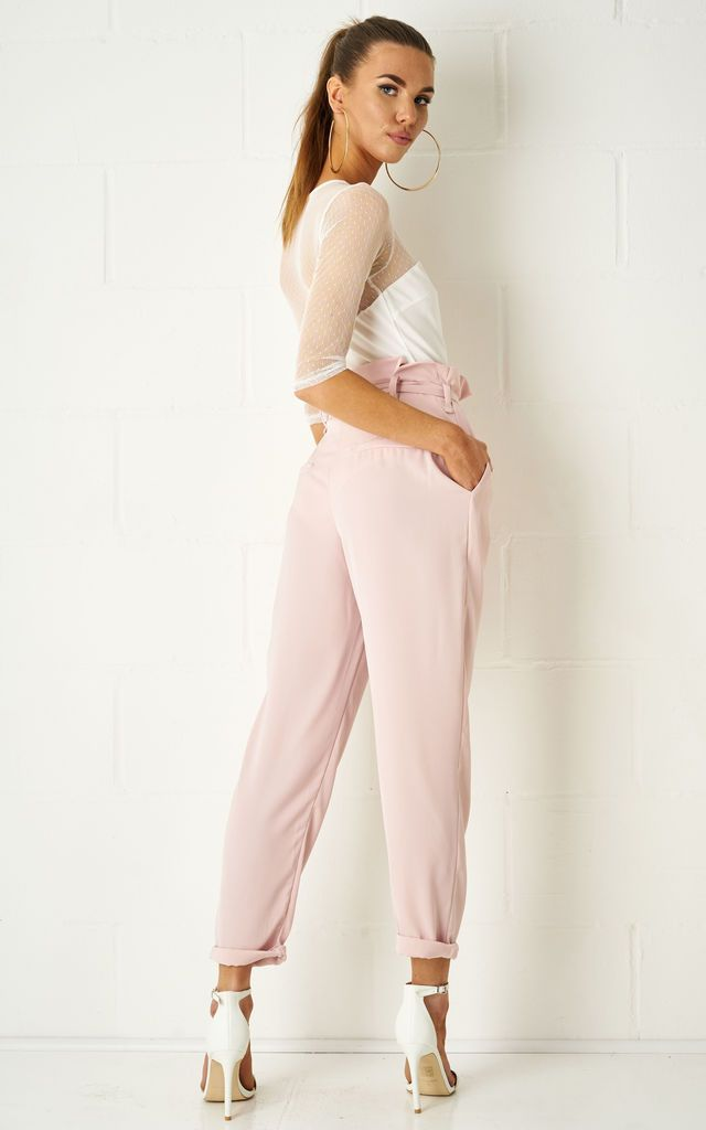 Abbiye Paperbag Trousers In Pink - love frontrow