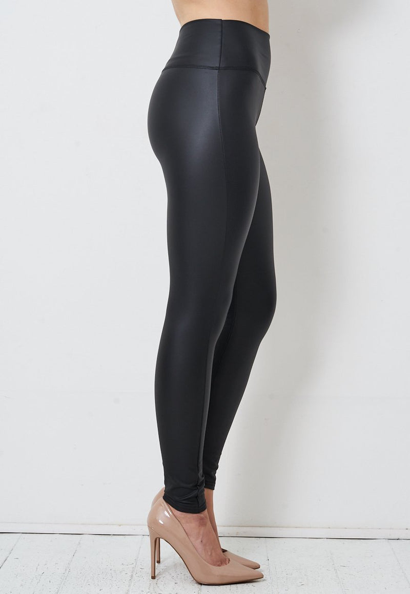 Black Faux Leather High Waist Leggings - love frontrow
