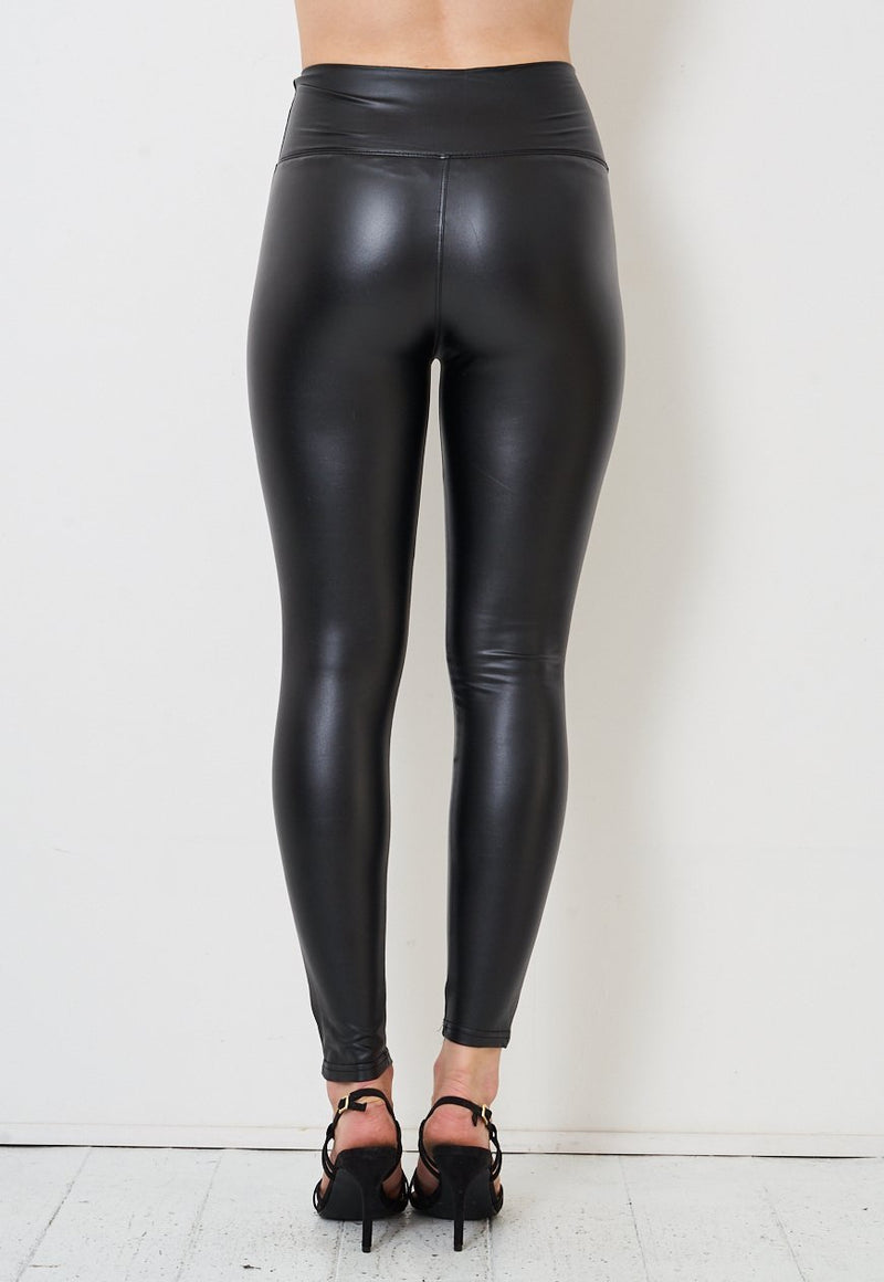 Black High Waist Faux Leather Button Leggings - love frontrow