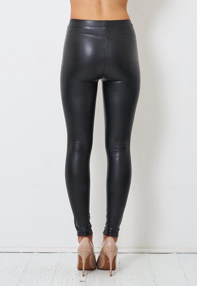 Black High Waisted Faux Leather Biker Leggings - love frontrow