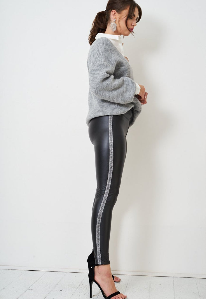 Black High Waisted Faux Leather Leggings - love frontrow