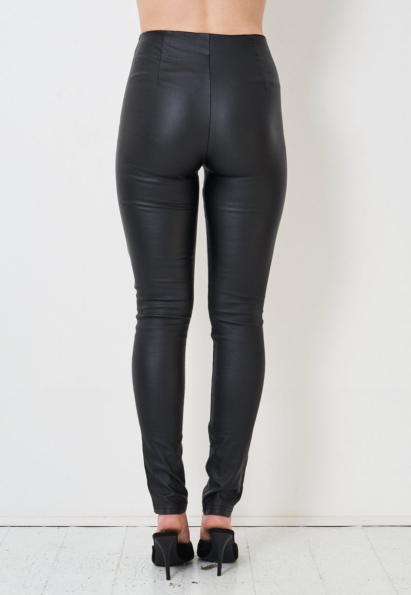Black High Waisted Wax Coated Slim Leggings - love frontrow