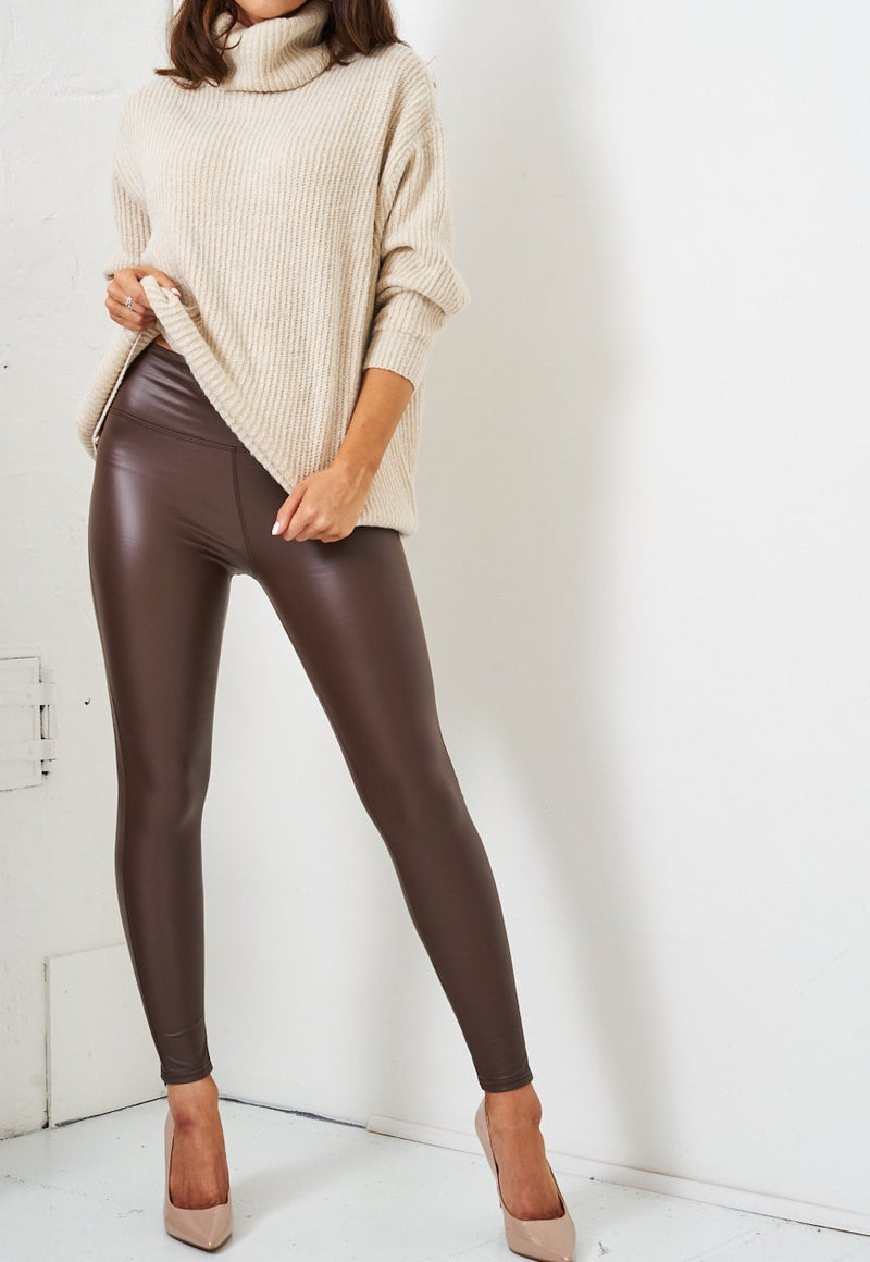 Brown Faux Leather High Waist Leggings - love frontrow