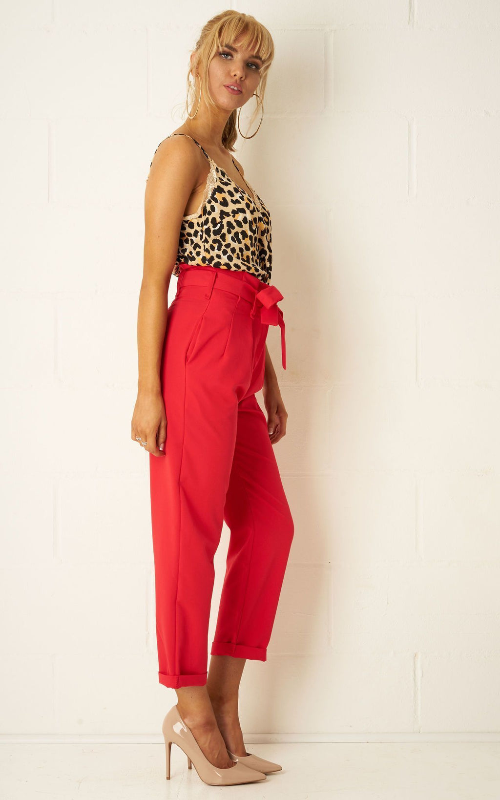 Camila High Waist Paperbag Cropped Trousers In Red - love frontrow