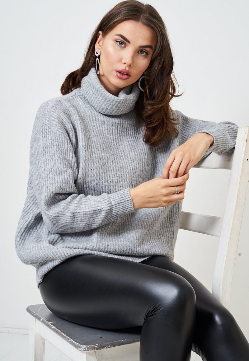 Grey Knit Slouchy Roll Neck Jumper - love frontrow