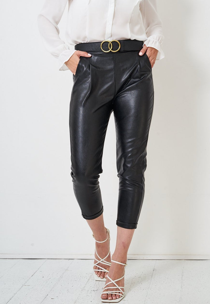 Cropped Faux Leather Trousers - love frontrow