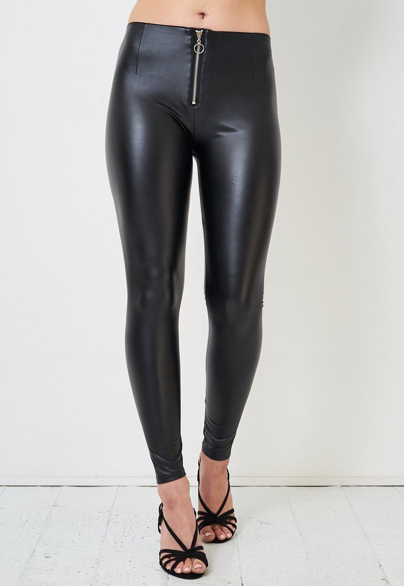 Black Faux Leather High Waist Zip Leggings - love frontrow