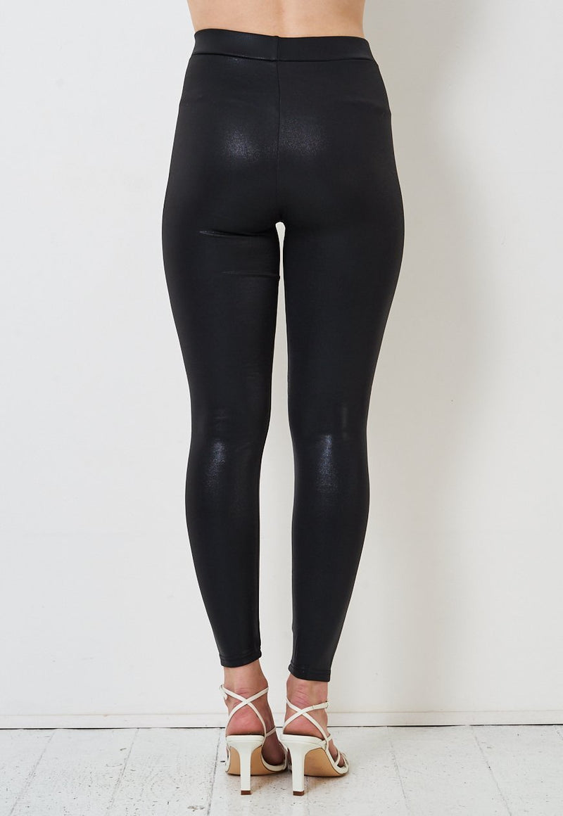 Black High Waist Stretch Shiny Leggings - love frontrow