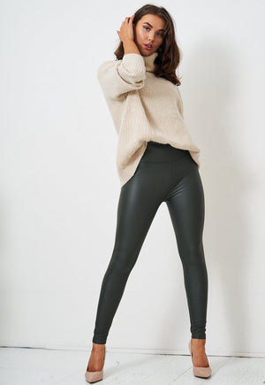 Khaki Faux Leather High Waist Leggings - love frontrow