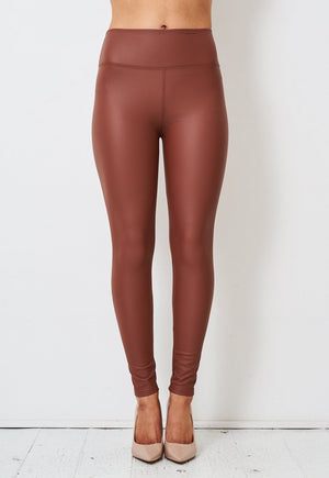 Tan Faux Leather High Waist Leggings - love frontrow