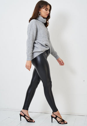 Black Zip Detail Faux Leather Leggings - love frontrow