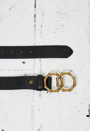 Black Belt With Brass Gold Double Bamboo Ring Buckle - love frontrow
