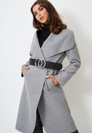 Black Oversized Belt with Silver Double Circle Buckle - love frontrow