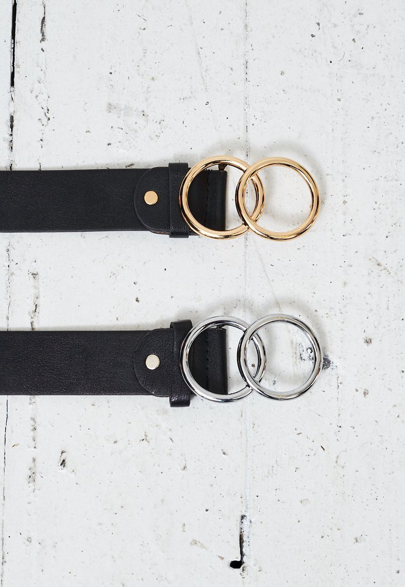 Black Belts With Gold And Silver Double Ring Two Pack - love frontrow