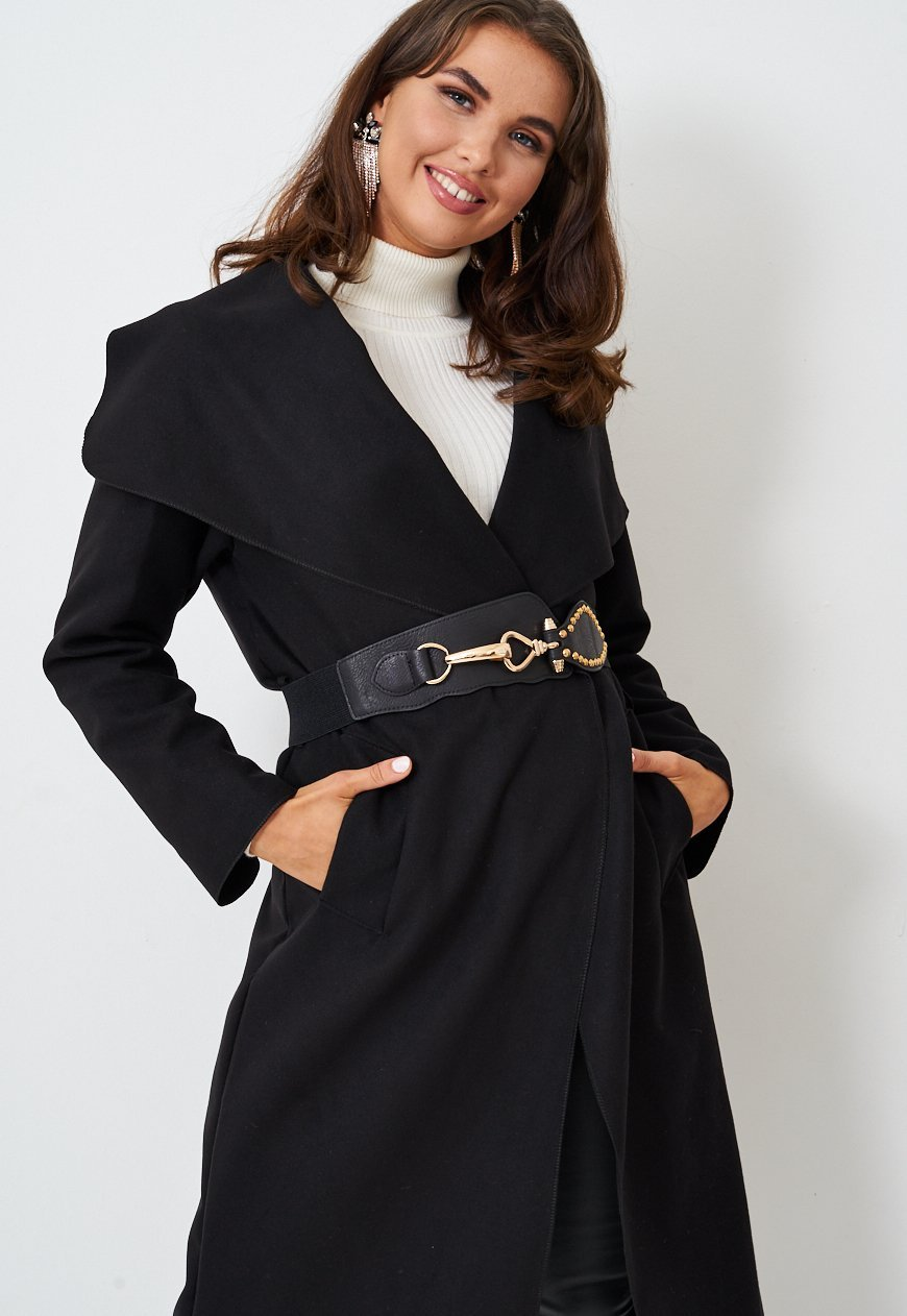 Black Oversized Horsebit Detail Faux Leather Belt - love frontrow