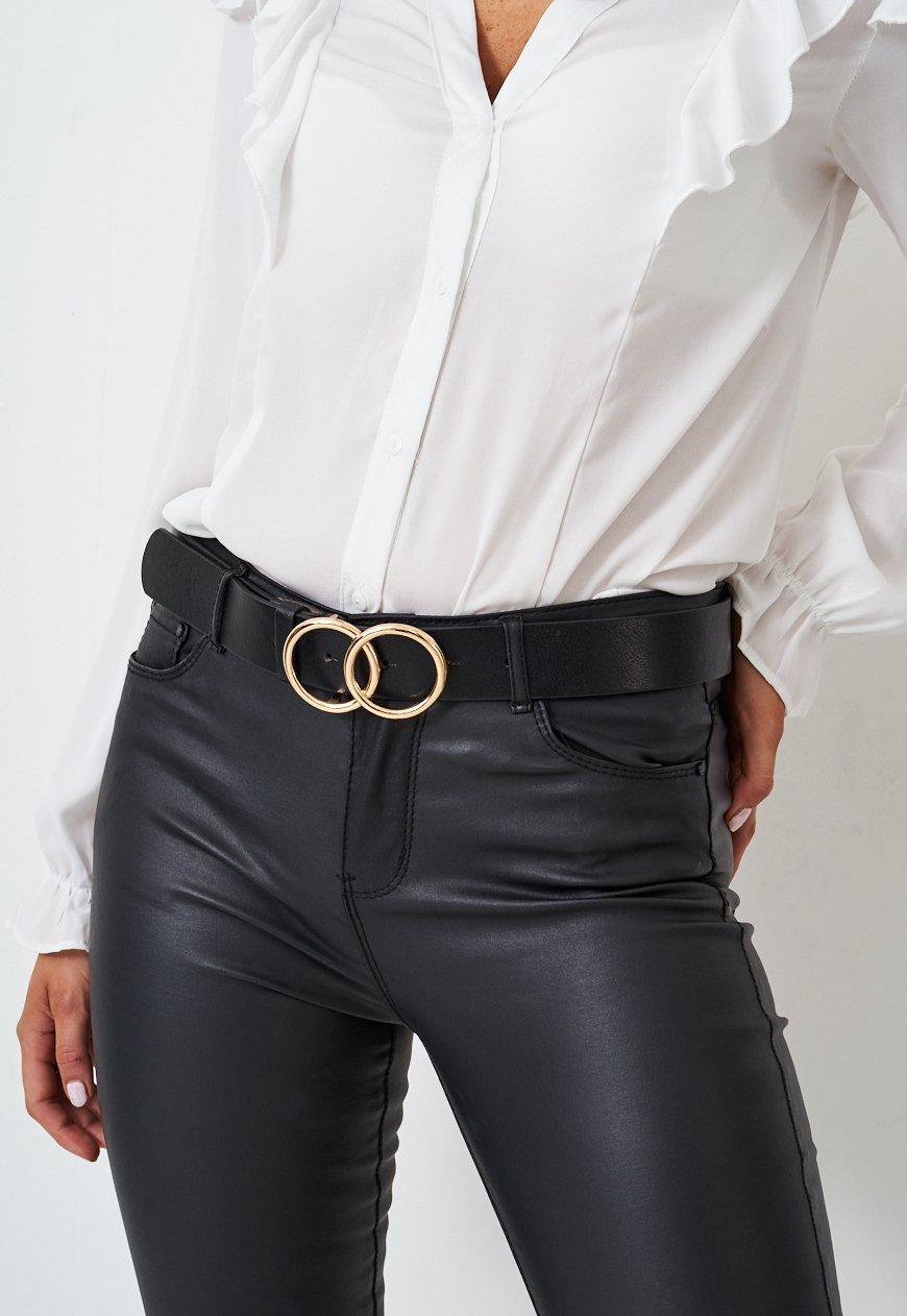 Black Belt With Circle Gold Buckle - love frontrow