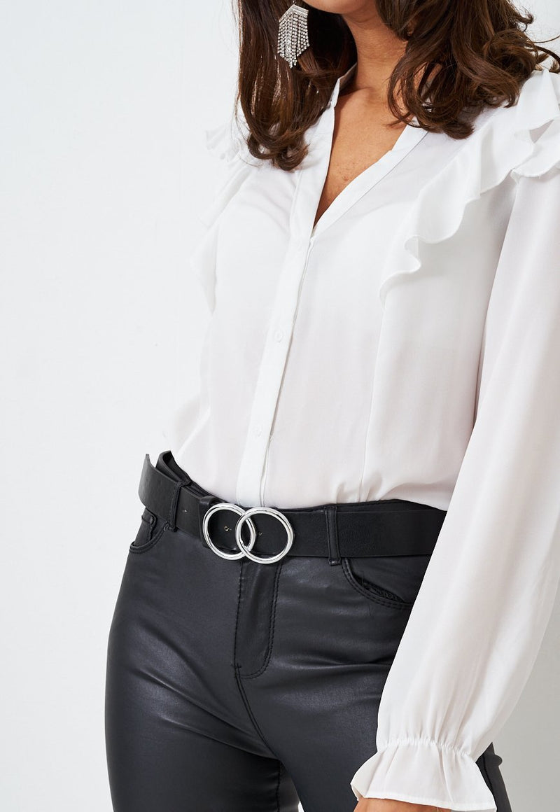 Black Belt With Circle Silver Buckle - love frontrow