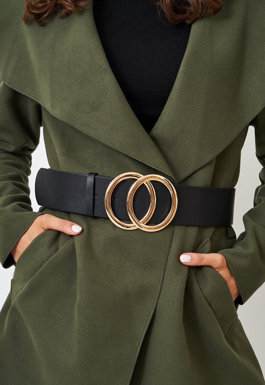 Black Oversized Belt with Gold Double Circle Buckle - love frontrow