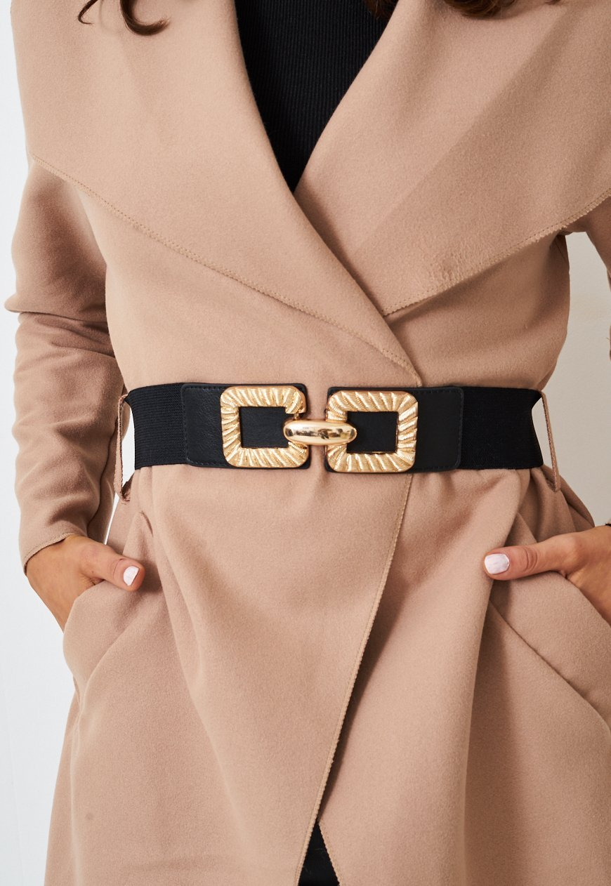 Elasticated Belt With Textured Gold Clasp - love frontrow
