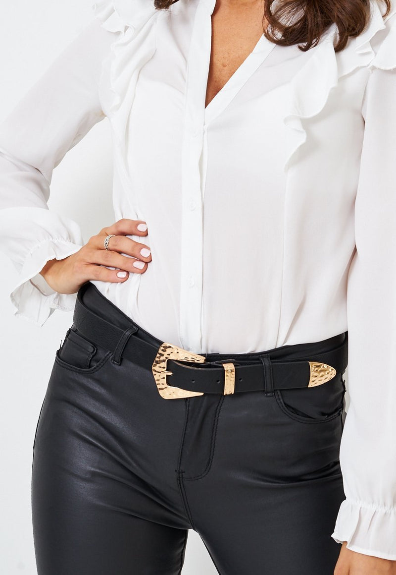 Textured Gold Buckle Western Black Belt - love frontrow