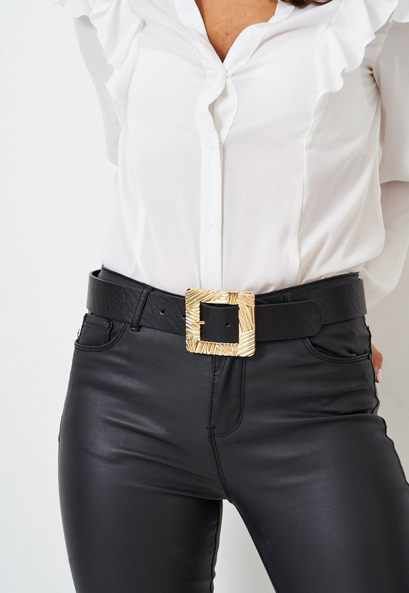 Textured Gold Square Buckle Black Belt - love frontrow