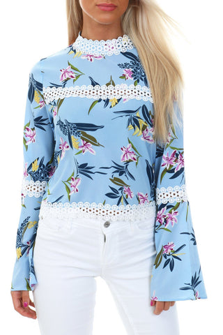 Floral Print Top with Lace Trim Blue
