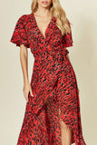 Cape Sleeve Wrap Dress in Red/Black Print