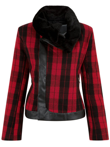 Cutie Red Check Print Faux Fur Jacket